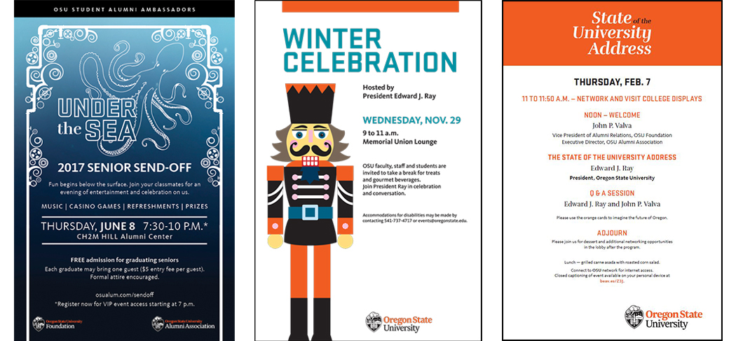 Event Posters for Under the Sea and Winter Celebration