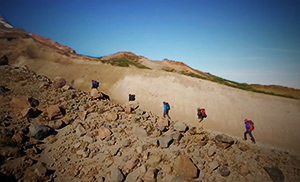 Hikers on a ridge line