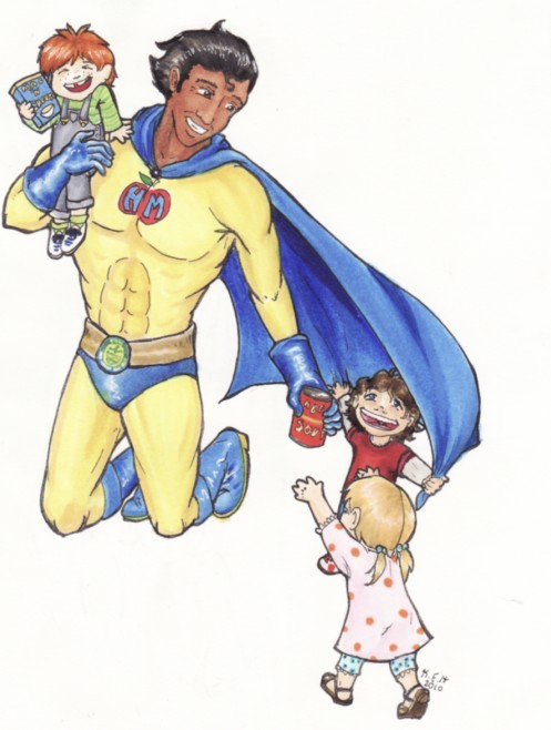 superhero giving children food
