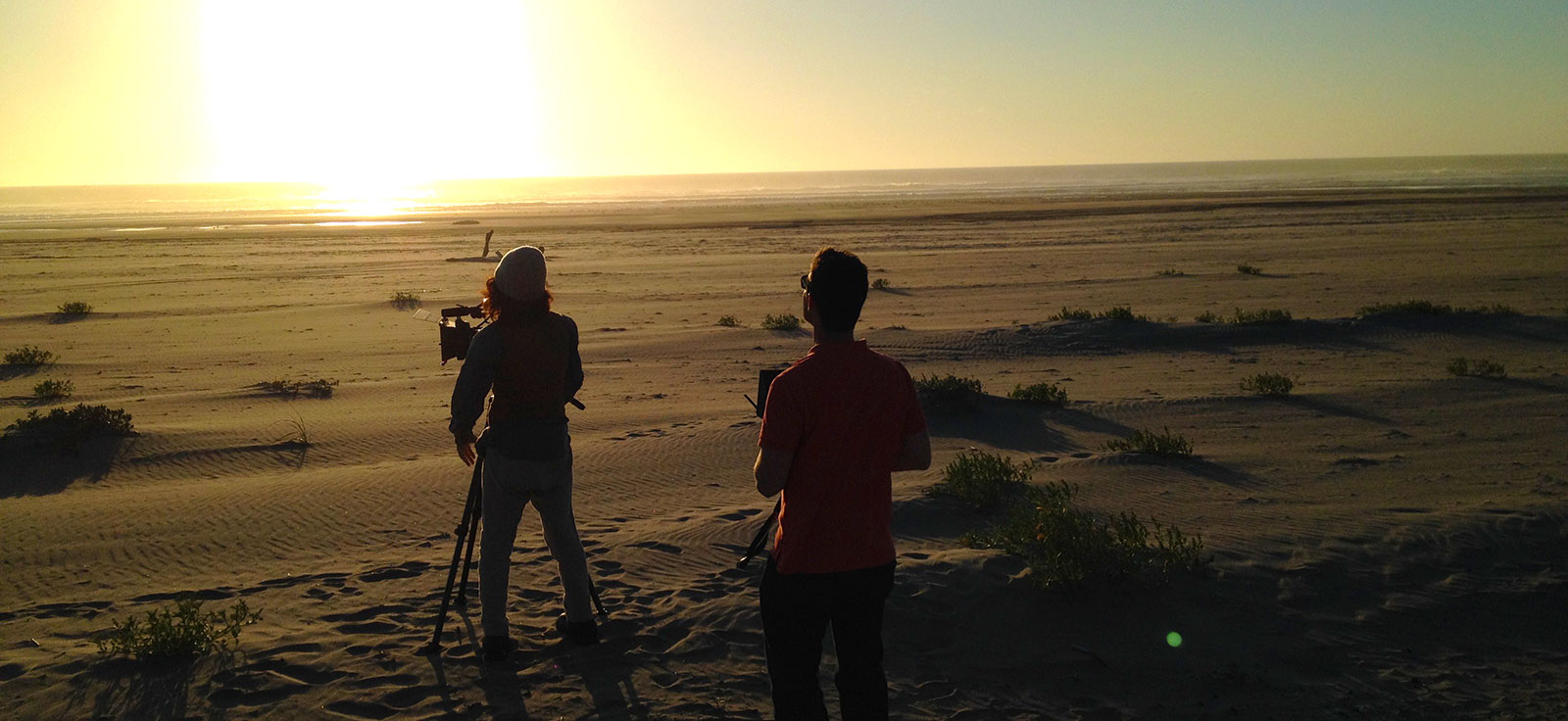 Filming sunset on long beach
